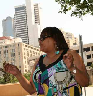 Nancy Hall speaks downtown Dallas