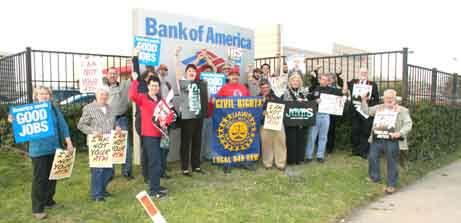 union and church members protested Bank of America